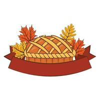 Thanksgiving sweet pie delicious with leaves and ribbon frame vector