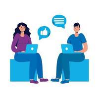 pareja joven sentada usando computadoras portátiles y redes sociales vector