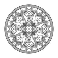 floral mandala Diwali decoration drawn monochrome icon vector illustration design