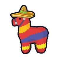 Mexican culture pinata flat style icon vector illustration design