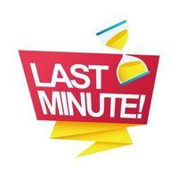 Insignia de cuenta regresiva de venta de último minuto con reloj de arena en cinta vector