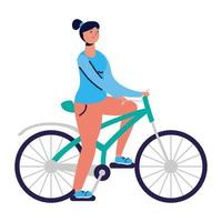 young woman rides bike practicing activity character vector