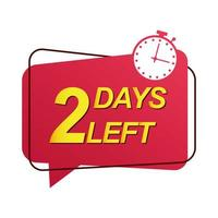 two days to go sale countdown badge with chronometer vector