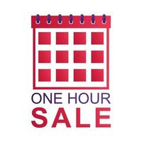 one hour sale countdown badge with calendar