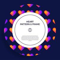 cartel, pancarta o tarjeta círculo marco de corazón vector