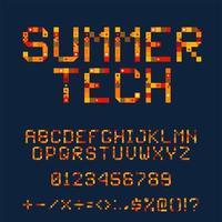 Summer Tech Pixel Font Set vector