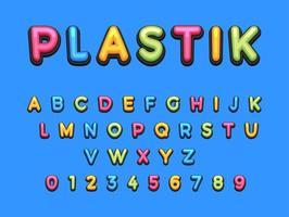 conjunto de fuentes de dibujos animados de plástico para niños vector