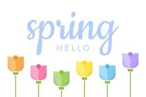 hola primavera cita con letras a mano vector