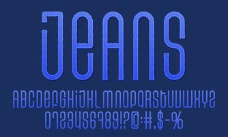 Textured denim vintage vector font set