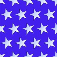 USA style seamless pattern white stars on blue background vector