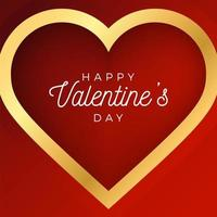 Valentine day abstract background with red and gold outline heart vector