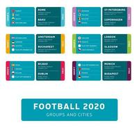 Football 2020 tournament final stage groups set vector