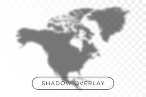 North America World map shadow vector