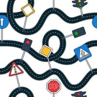 Roadn and sign Seamless vector pattern