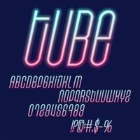 Tube Neon vector font set