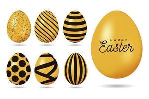 Gold easter egg set vector