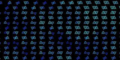 Telón de fondo de vector azul oscuro con símbolos de misterio.