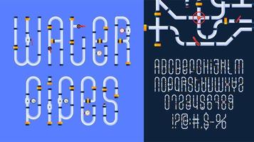 Cartoon Water pipe industrial Font set