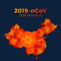 Map of China made up of coronavirus molecules