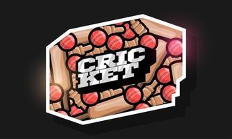 logotipo de estilo retro de deporte de cricket de tipografía profesional moderna vector