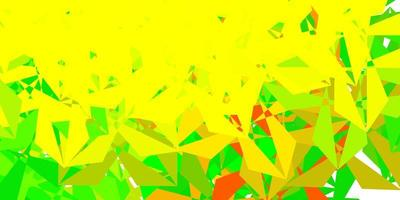 Light green, yellow vector abstract triangle backdrop.