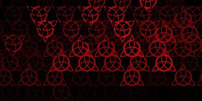 Dark Red vector background with occult symbols.