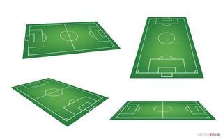 campo de fútbol o conjunto de perspectiva de campo de fútbol vector