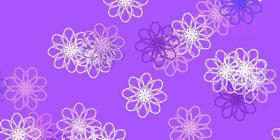 Light Purple vector doodle texture with flowers.