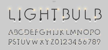 Alphabet letters and numbers in loft style. Abstract alphabet of light bulb and light switch on concrete wall background. Vector.