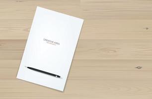 Fondo de hoja de papel blanco y lápiz negro metálico sobre madera. vector. vector