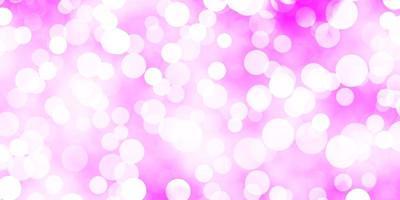 Fondo de vector púrpura claro con burbujas.
