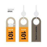 Door hanger tags with key for the room in hotel or resort mock-up vector