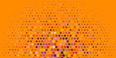 Telón de fondo de vector multicolor claro con puntos.