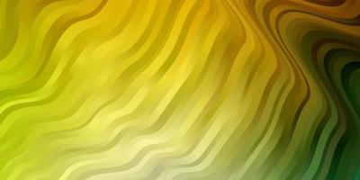 textura de vector verde claro, amarillo con líneas torcidas.