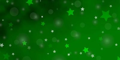 Light Green vector texture with circles, stars.