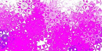 patrón de vector púrpura claro con copos de nieve de colores.