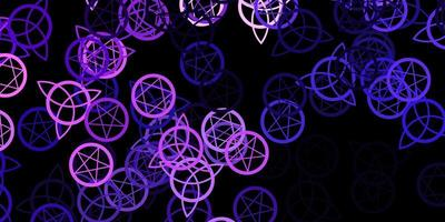 Dark Purple vector background with occult symbols.