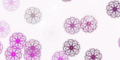 Fondo de doodle de vector rosa claro con flores.