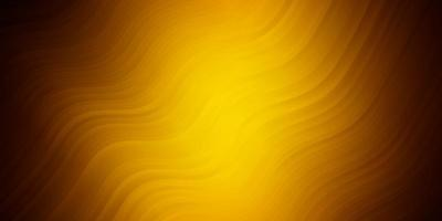 Dark Orange vector background with curved lines.