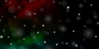 textura de vector multicolor oscuro con círculos, estrellas.