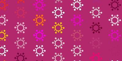 Fondo de vector rosa claro, amarillo con símbolos covid-19.
