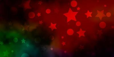 Dark Multicolor vector background with circles, stars.