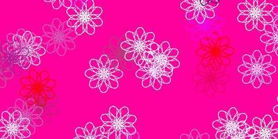 ilustraciones naturales de vector violeta claro, rosa con flores.