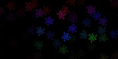 Telón de fondo de vector multicolor oscuro con símbolos de virus