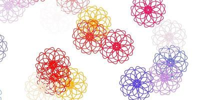 patrón de doodle de vector rojo claro, amarillo con flores.
