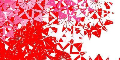 Fondo de vector rojo claro con copos de nieve de Navidad.