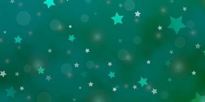 textura de vector verde claro con círculos, estrellas.