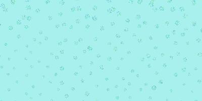 Light blue, green vector doodle background with flowers.