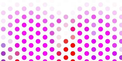 Light pink, red vector background with spots.