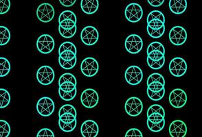 Dark Green vector background with occult symbols.